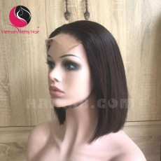 Silky Straight 5x5 lace closure wigs 8 inches 180% Density