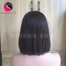 Silky Straight 2x4 lace closure wigs 8 inches 180% Density