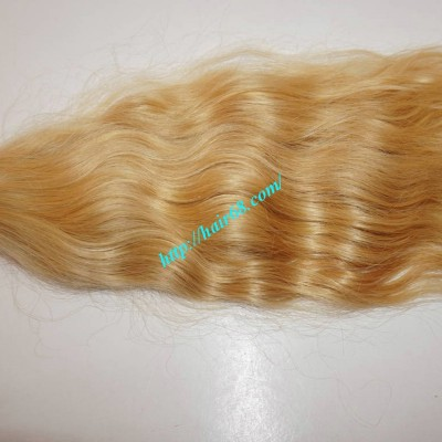 14 inch Cheap Blonde Human Hair Weave - Natural Wavy