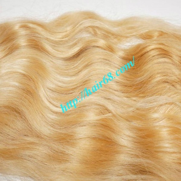 14 Inch Blonde Wavy Weave Remy Hair
