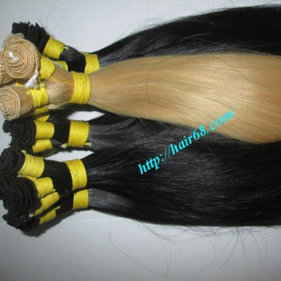 12 inch Hand Tied Remy Hair Weft Straight Double