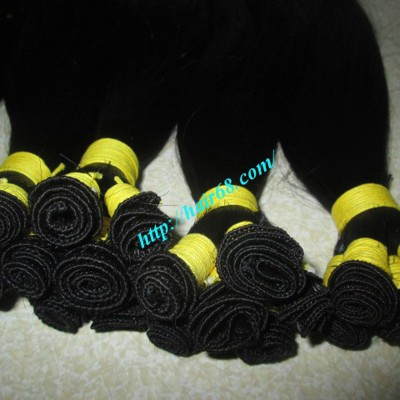 16 inch Hand Tied Human Hair Extensions Weft Straight Double