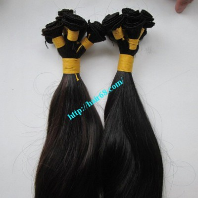 24 inch Hand Tied Remy Weft Hair Extensions Straight Double