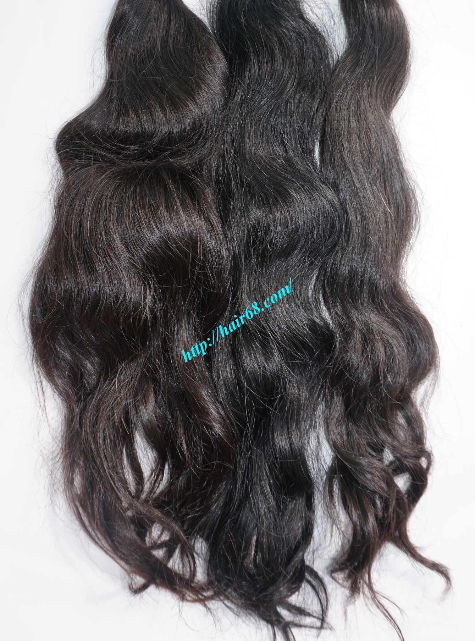 20 inch hand tied weft wavy double drawn 5