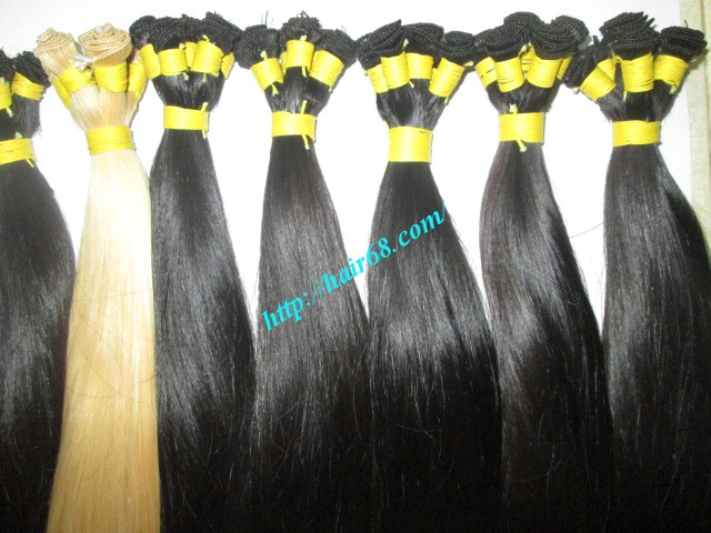 22 inch hand tied weft straight double drawn 3