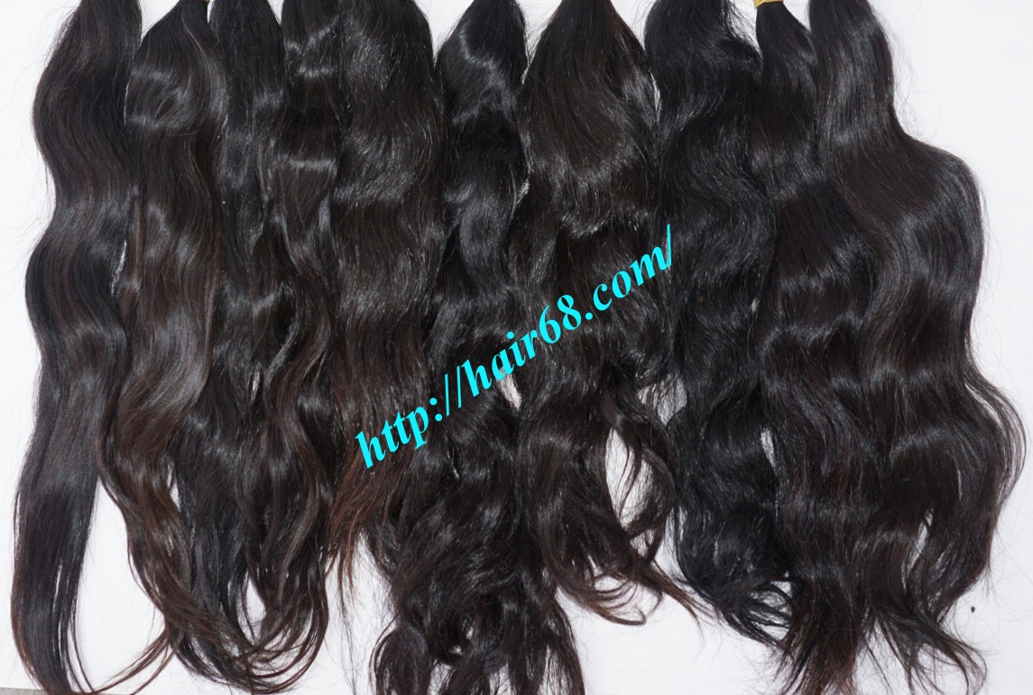24 inch hand tied weft wavy double drawn 4