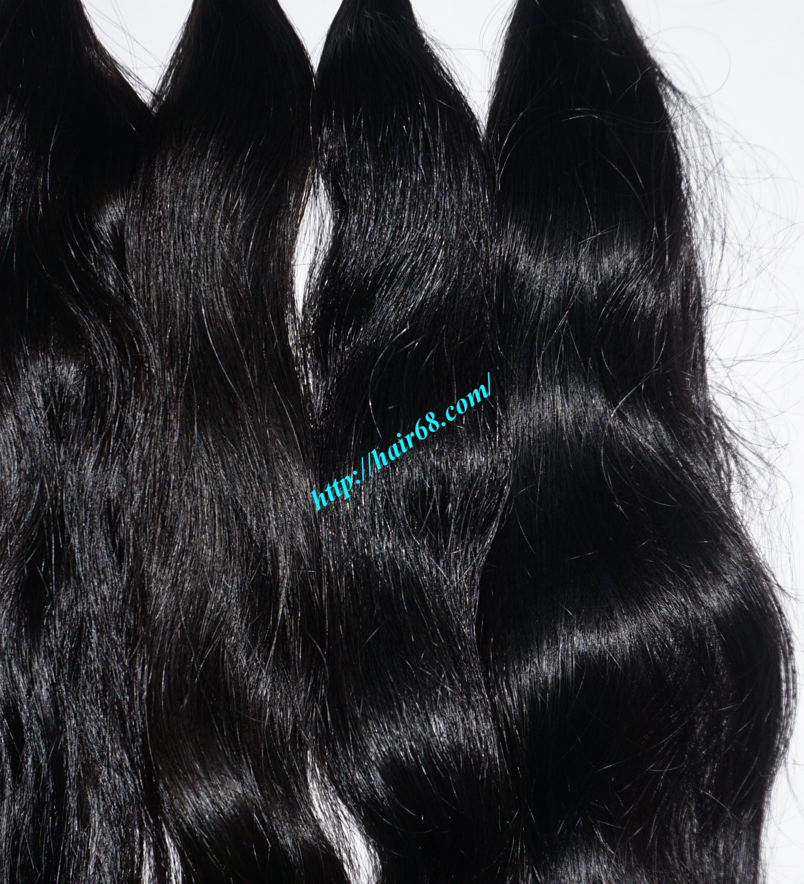 32 inch hand tied weft wavy double drawn 4