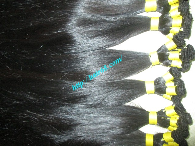 8 inch hand tied weft hair straight double drawn 3